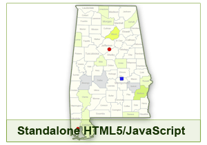 Interactive Map of Alabama - HTML5/JavaScript