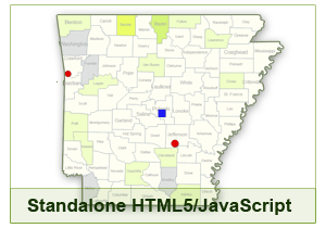 Interactive Map of Arkansas - HTML5/JavaScript