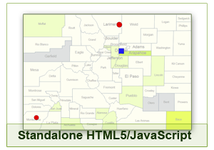 Interactive Map of Colorado - HTML5/JavaScript