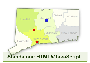 Interactive Map of Connecticut - HTML5/JavaScript