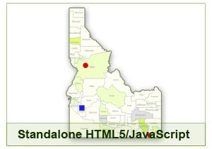 Interactive Map of Idaho - HTML5/JavaScript