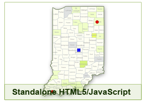 Interactive Map of Indiana - HTML5/JavaScript