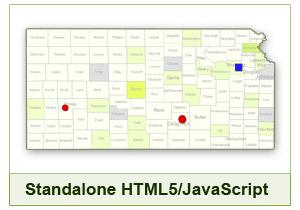 Interactive Map of Kansas - HTML5/JavaScript
