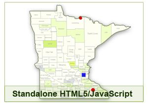 Interactive Map of Minnesota - HTML5/JavaScript