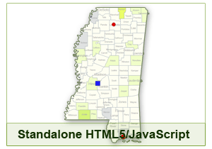 Interactive Map of Mississippi - HTML5/JavaScript