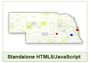 Interactive Map of Nebraska - HTML5/JavaScript