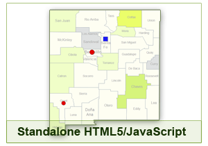 Interactive Map of New Mexico - HTML5/JavaScript