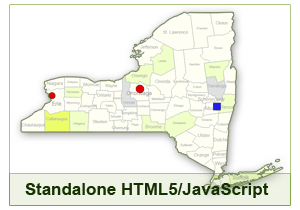 Interactive Map of New York - HTML5/JavaScript