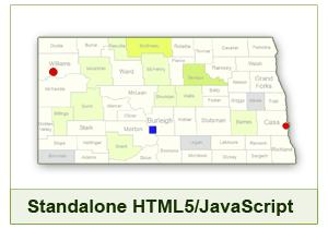 Interactive Map of North Dakota - HTML5/JavaScript
