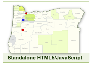 Interactive Map of Oregon - HTML5/JavaScript