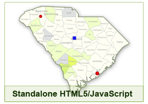 Interactive Map of South Carolina - HTML5/JavaScript