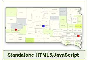 Interactive Map of South Dakota - HTML5/JavaScript
