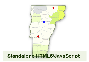 Interactive Map of Vermont - HTML5/JavaScript