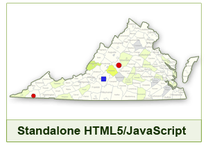 Interactive Map of Virginia - HTML5/JavaScript