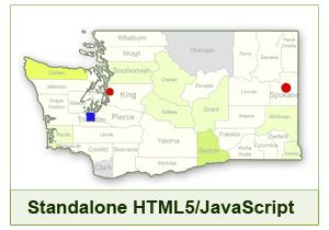 Interactive Map of Washington - HTML5/JavaScript