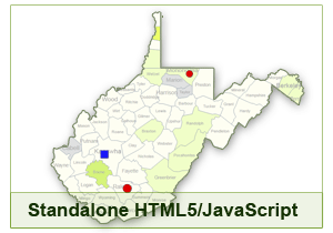 Interactive Map of West Virginia - HTML5/JavaScript