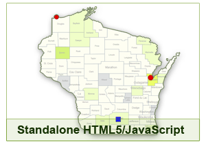 Interactive Map of Wisconsin - HTML5/JavaScript