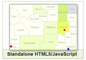 Interactive Map of Wyoming - HTML5/JavaScript