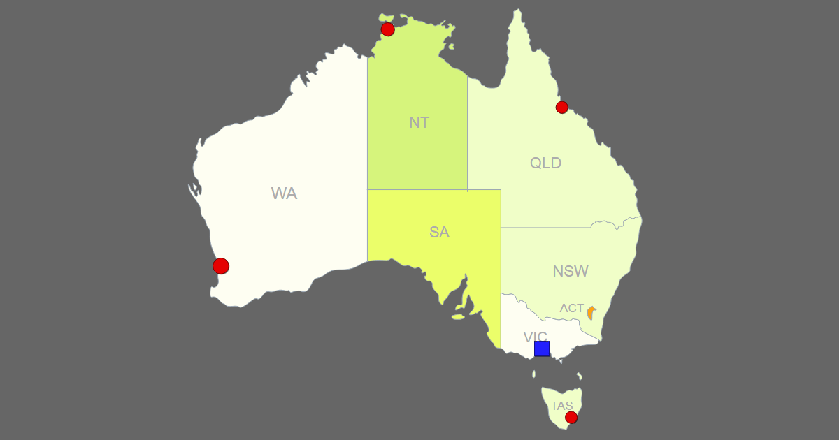 Interactive Map of Australia [Clickable States/Cities]