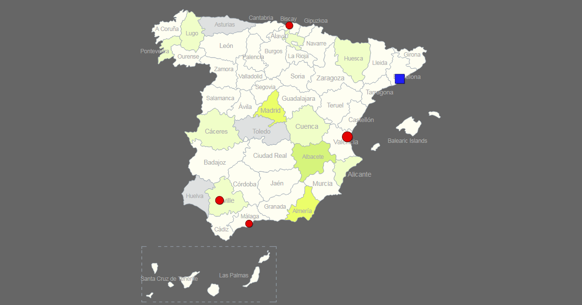Interactive Map Of Spain  Clickable Provinces  Cities