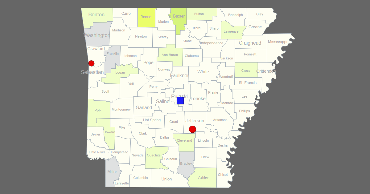 interactive map of arkansas  clickable counties    cities