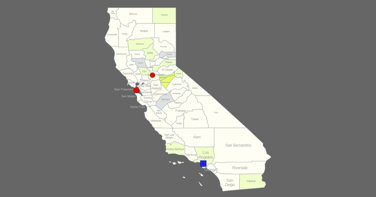 interactive map of california  clickable counties    cities