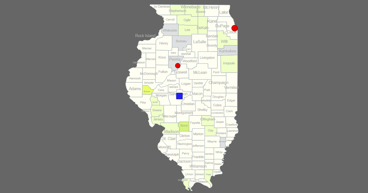 interactive map of illinois  clickable counties    cities