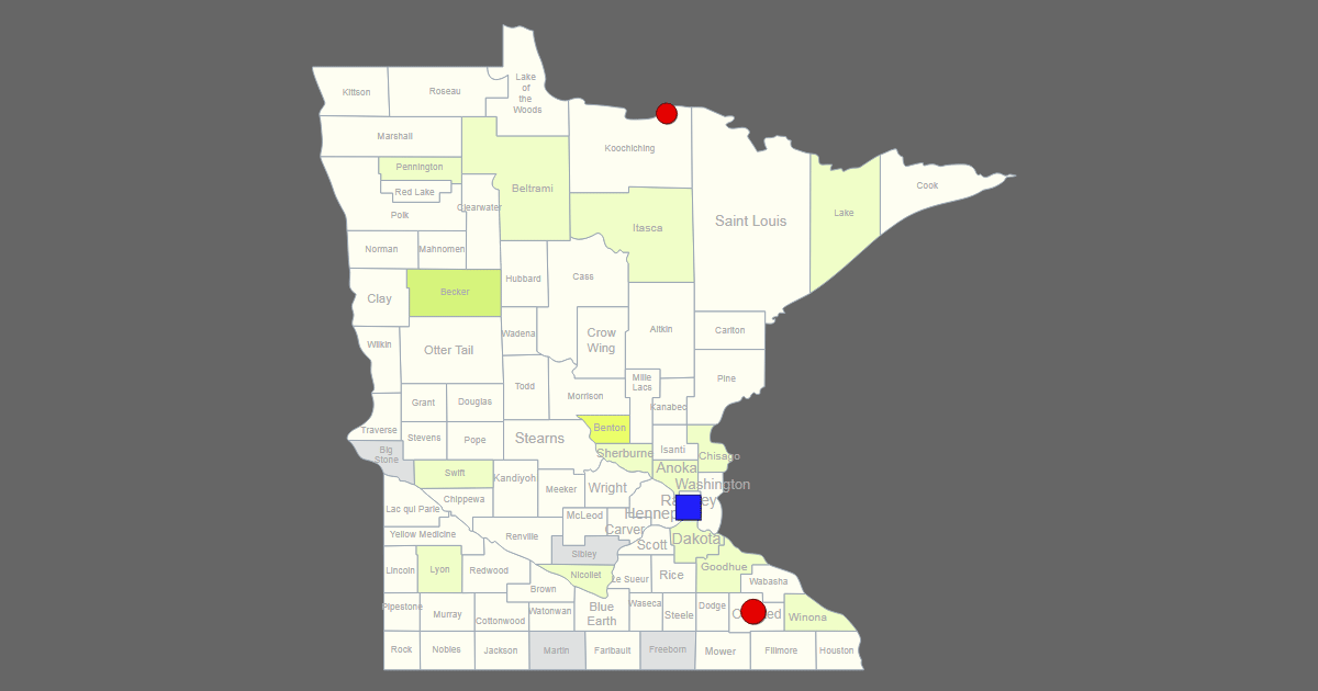 interactive map of minnesota  clickable counties    cities