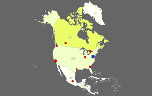 Interactive US-Canada Map [Clickable States / Provinces / Cities]