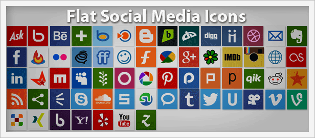 PNG Flat Social Media Icons Pack